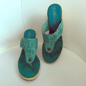 2/$20 Sam & Libby turquoise/gold sandals